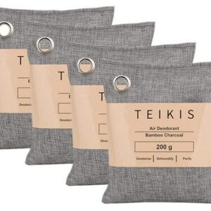 TeiKis 4 Pack Activated Bamboo Charcoal Air Freshening Bags